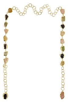 Gold Plated Pastel Color Rough Stone Necktie/ Necklace by Maira