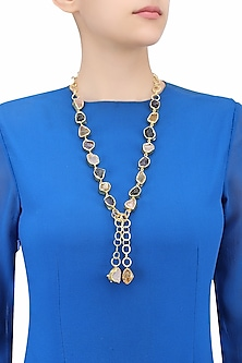 Gold Plated Rough Stone Necktie/ Necklace by Maira