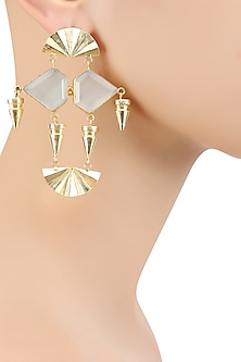 Gold Plated White Egyptian Semi Precious Stone Earrings