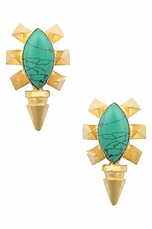 Gold Plated Turquoise Semi Precious Stone Stud Earrings by Maira