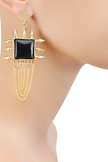 Gold Plated Black Loop Chain Aunaxe Earrings