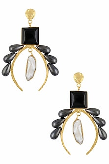 Gold Plated Mistique Claw Hanging Mother of Pearl Earrings by Maira