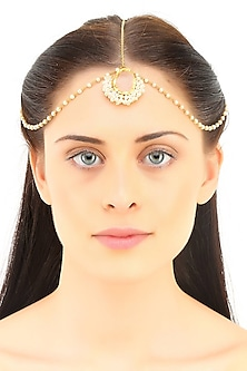 Gold plated rough stone headgear by Maira