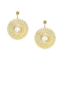 Gold plated white stone filigree circular earrings by Maira