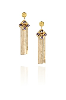 Gold plated rough stone diamond shape waterfall earrings by Maira
