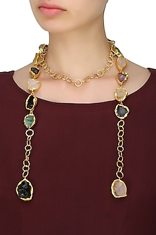 Gold plated rough textured stone lariat necklace by Maira