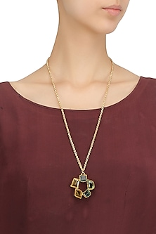 Gold Plated Multi-Color Semi Precious Stone Necklace