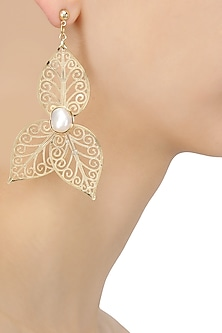 Gold Plated Textured Leaf Earrings by Maira