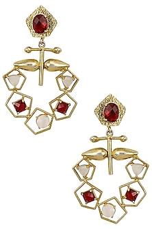 Gold Plated Semi Precious Stone Geometric Earrings by Maira