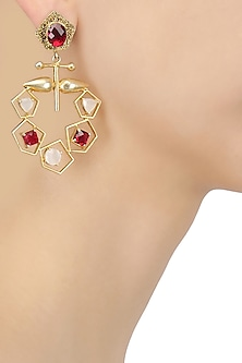 Gold Plated Semi Precious Stone Geometric Earrings
