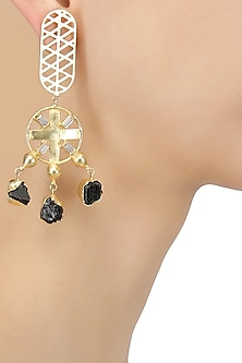 Gold Plated Black Earthy Hanging Geometric Earrings by Maira