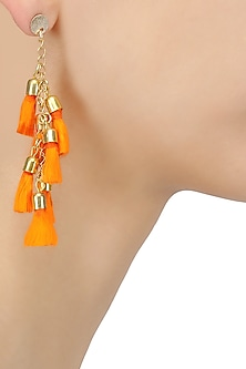 Gold Plated Orange Tangerine Tassel Hanging Earrings by Maira
