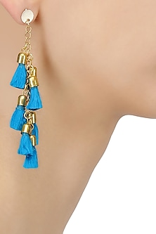 Gold Plated Turquoise Tassel Hanging Earrings by Maira