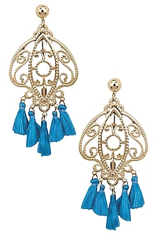 Gold Plated Textured Turquoise Tassel Hanging Earrings by Maira