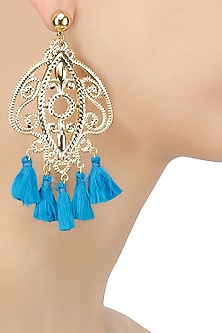 Gold Plated Textured Turquoise Tassel Hanging Earrings