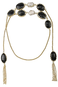 Gold Plated Black Glass Stone Open Necktie/Necklace by Maira