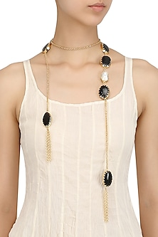 Gold Plated Black Glass Stone Open Necktie/Necklace