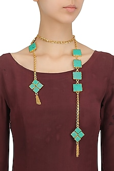 Gold Plated Square Turquoise Semi Precious Stone Open Necktie/Necklace