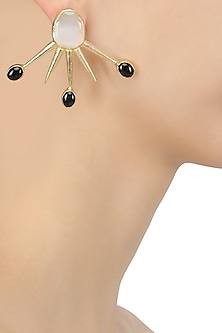 Gold Plated White and Black Glass Stone Spike Earrings