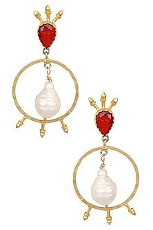 Gold Plated Semi Precious Stone Circular Earrings by Maira