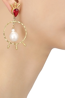 Gold Plated Semi Precious Stone Circular Earrings
