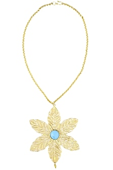 Gold plated textured blue onyx stone filigree necklace by Maira