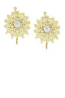 Gold plated textured centre stone earrings by Maira