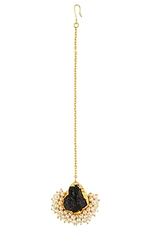 Gold Plated Rough Purple Stone Pearl Gucha Maang Tikka by Maira