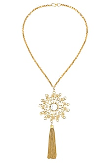 Gold Plated Textured Onyx Stone Filigree Round Pendant Necklace by Maira