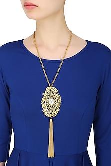 Gold Plated Onyx Stone Filigree Pendant Fringe Hanging Necklace by Maira