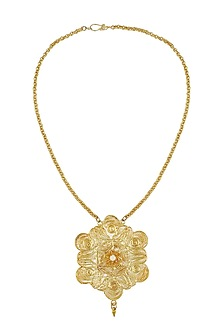 Gold Plated Pearls Studded Filigree Pendant Necklace by Maira