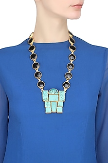 Gold Plated Black And Turquoise Onyx Stone Necklace by Maira