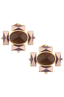 Gold Plated 3D Cut Wooden Purple and Pink Stud Earrings by Madiha Jaipur