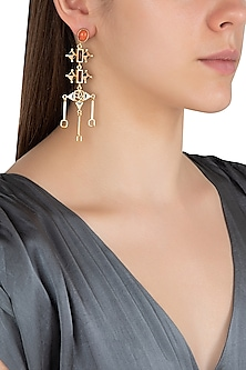 Gold Plated 3D Cut Wooden Earrings by Madiha Jaipur
