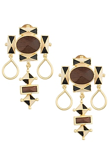 Gold Plated 3D Cut Wooden Black and Off White Earrings by Madiha Jaipur