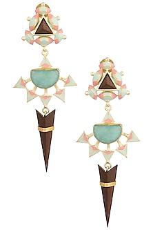 Gold Plated 3D Cut Multi Color Dangler Earrings by Madiha Jaipur