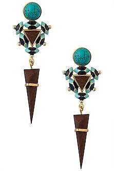 Gold Plated 3D Cut Blue Enamel Earrings by Madiha Jaipur