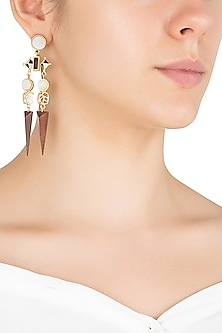 Gold Plated 3D Cut Mother Of Pearl Earrings