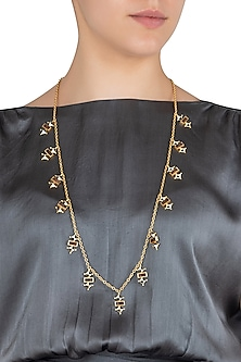 Gold Plated 3D Cut Wooden Necklace