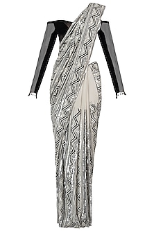 Ivory and black embroidered saree set by Manish Malhotra