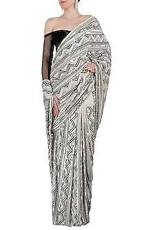Ivory and black embroidered saree set by Manish Malhotra