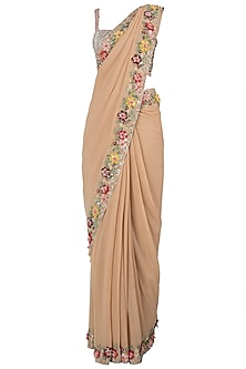 Beige embroidered saree set
