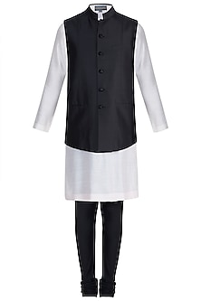 Black Textured Bundi Jacket With Kurta & Churidar Pants by Manish Malhotra Men