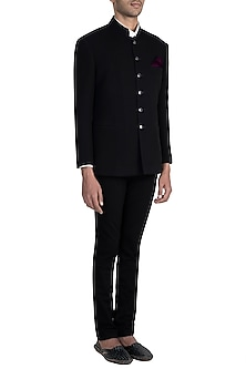 Black Textured Bandhgala Jacket With Pants & Ivory Shirt by Manish Malhotra Men