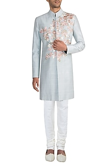 Powder Blue Embroidered Sherwani Jacket With Ivory Aligarhi Pants by Manish Malhotra Men