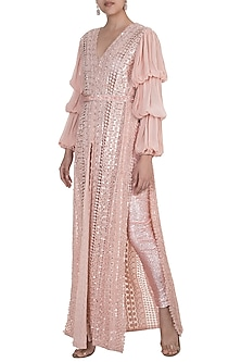 Pink Embroidered Jacket With Pants & Belt by Manish Malhotra
