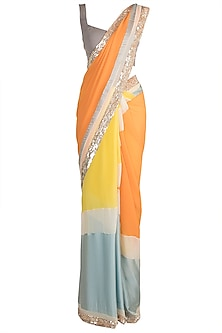Multi Colored Embroidered Saree Set by Manish Malhotra
