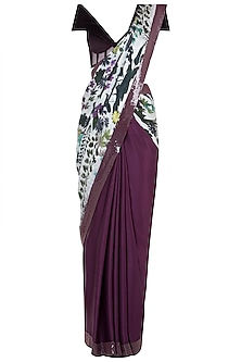 Ivory and purple printed and sequins sheeted saree with blouse piece