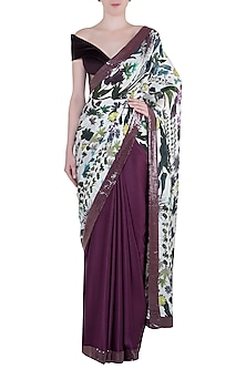 Ivory and purple printed and sequins sheeted saree with blouse piece by Manish Malhotra