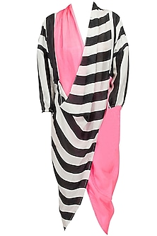 Black/White Stripe and Pink Cowl Draped Kurta